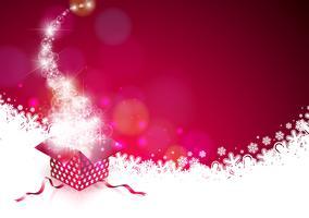 Ilustração de Natal com caixa de presente mágica