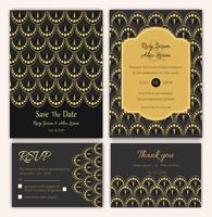 Conjunto de cartões relacionados com o casamento vetor