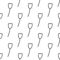 padrão sem emenda feito de doodle flor de tulipa. isolado no branco vetor
