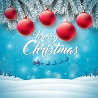Ilustração de feliz Natal com Papai Noel voador