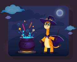 girafa de desenho animado com roupas de bruxa em pé perto do pote mágico vetor