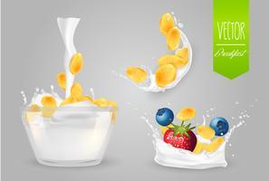 Cereal com leite e frutas.