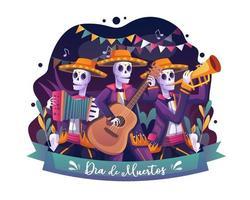 esqueletos músicos celebra a ilustração vetorial de dia de los muertos vetor