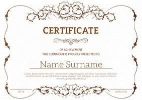 Certificado clássico dourado vintage de modelo de realização vetor