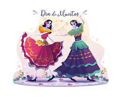 duas dançarinas de caveira dançando na ilustração vetorial de dia de los vetor