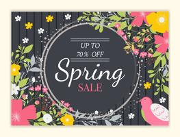 Fundo de venda de primavera com linda flor colorida