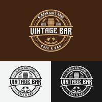 vintage bar café carimbo etiqueta emblema emblema logotipo modelo de design vetor