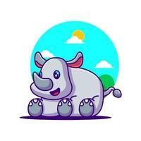 ilustração de desenho animado de rinoceronte fofo vetor