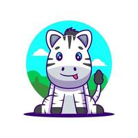 ilustração de desenho animado de zebra fofa vetor