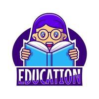 Ilustração em vetor logotipo bonito mascote dos desenhos animados menina educação