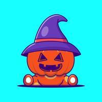 bruxa fofa abóbora ilustração dos desenhos animados do dia das bruxas vetor