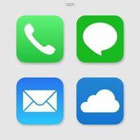 conjunto de ícones de mídia social. ícone de telefone, e-mail, bate-papo e nuvem. vetor. vetor