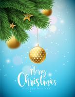 Ilustração de feliz Natal com bolas ornamentais e ramo de pinheiro