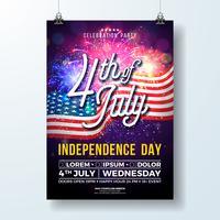 Dia da independência dos EUA Party Flyer ilustração com bandeira e fogos de artifício