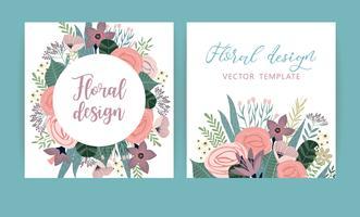 Modelos de vetor com flores. Design para cartão, cartaz, banner, convite, casamento, saudação.