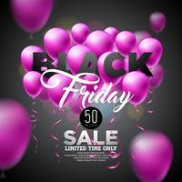 Ilustração em vetor venda sexta-feira negra com balões brilhantes