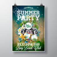 Vector verão praia festa Flyer Design com elementos tipográficos e música