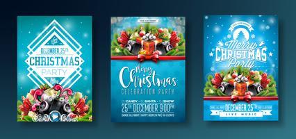 Design de festa de Natal com elementos de tipografia