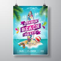 Vector Summer Beach Party Flyer Design com prancha de surf e ilha paradisíaca