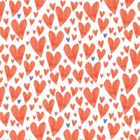 Vector aquarela corações sem costura padrão