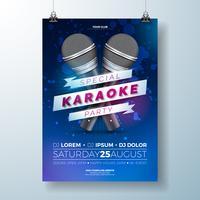 Ilustração de folheto com um tema de festa de karaoke vetor