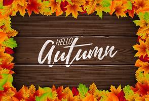Ilustração de Outono com letras em fundo de textura de madeira