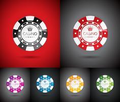 Ilustração do vetor em um tema do casino com jogo das microplaquetas ajustadas.