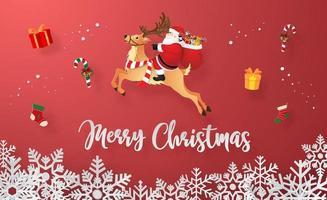 papai noel com presentes de natal, feliz natal e feliz ano novo vetor