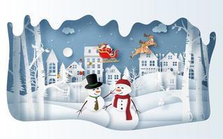 boneco de neve na aldeia na temporada de inverno com o papai noel vetor