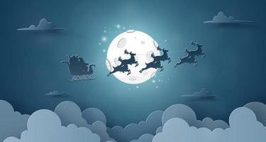 papai noel e renas voando no céu com lua cheia vetor
