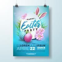 Vector Páscoa Party Flyer ilustração com ovos pintados