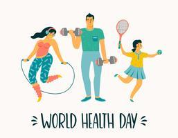 Dia Mundial da Saúde. Estilo de vida saudável. Família do esporte.