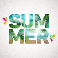 Vector a ilustração tipográfica de férias de verão com plantas tropicais