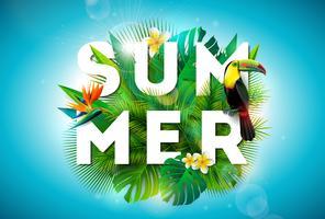 Ilustração de verão com o pássaro Tucano e flores tropicais