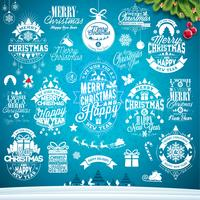 Conjunto de design de Natal caligráfico e tipográfico