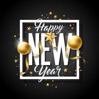 Feliz ano novo ilustração com letra de tipografia e bolas ornamentais vetor