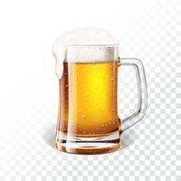 Ilustração com cerveja lager em uma caneca de cerveja no fundo transparente