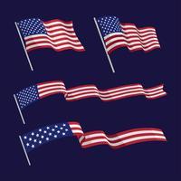 Conjunto de bandeira americana Wavin vetor