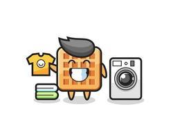 desenho de mascote de waffle com máquina de lavar vetor