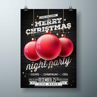 Ilustração de festa de noite feliz Natal vetor