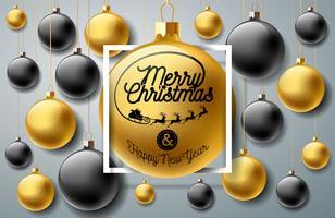Ilustração de feliz Natal com ornamentos no fundo vetor