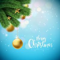 Ilustração de feliz Natal com enfeites e ramos de pinheiro