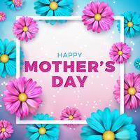 Feliz dia das mães cartão design vetor