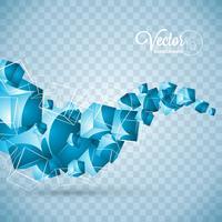 Os cubos abstratos das ondas do azul do vetor projetam no fundo transparente.
