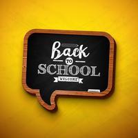 """""""Back to school design"""" na lousa de bolha do discurso vetor"""