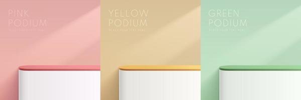 amarelo, rosa, verde e branco abstrato 3d geométrico stand pódio. vetor