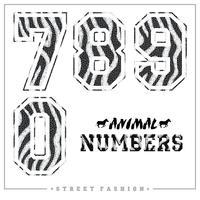 Números de mosaico de animais para camisetas, cartazes, cartões e outros usos. vetor