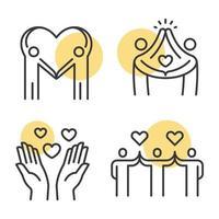 ícones de contorno de amor e amizade. vetor
