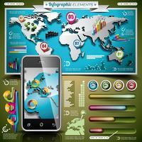 Conjunto de design de vetor de elementos infográfico. Mapa do mundo e gráficos de informação
