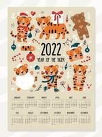 calendário de ano novo e natal para 2022 com tigres engraçados vetor